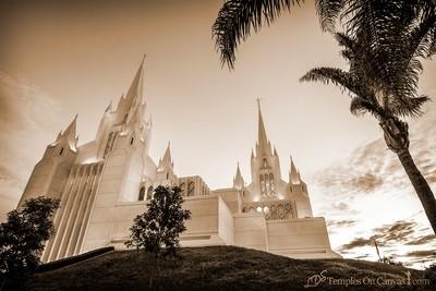 San Diego California Temple Art - Heavenward - Sepia