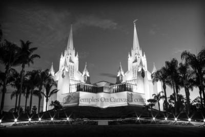 San Diego CA Temple Art - Summer Sunrise - Black & White