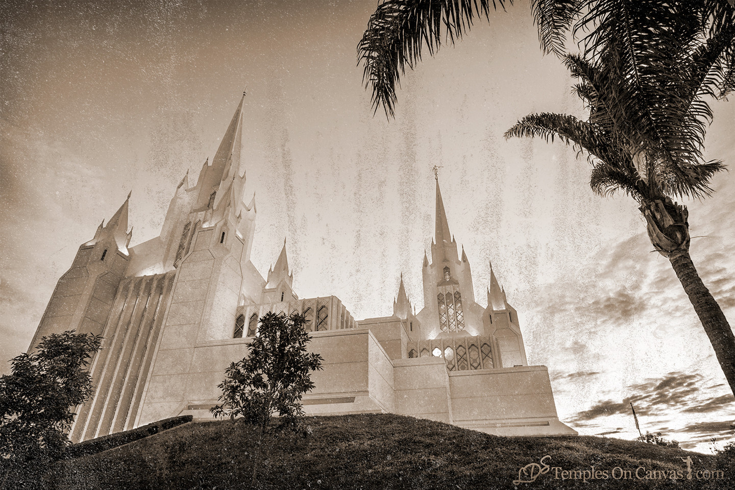 San Diego California Temple Art - Heavenward - Rustic