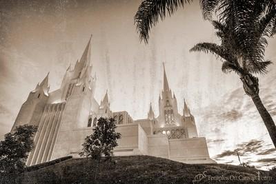 San Diego California Temple Art - Heavenward - Rustic