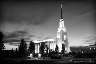 Twin Falls Idaho Temple - Peaceful Dusk - Black & White