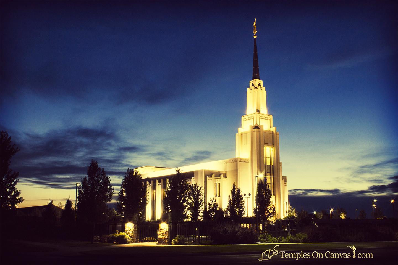 Twin Falls Idaho Temple - Peaceful Dusk - Vintage