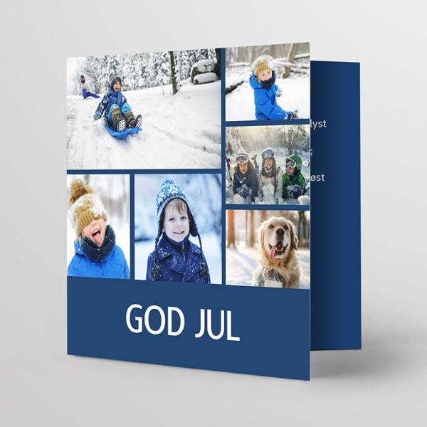 Julekort 15x15cm - trykk på fire sider