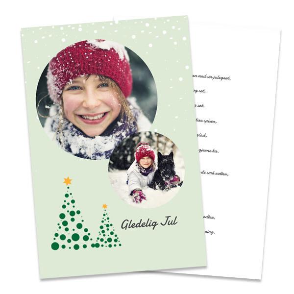 Julekort 10x15cm - trykk på to sider, stående