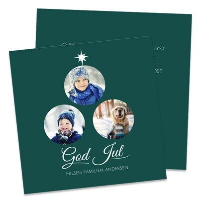 Julekort 15x15cm - trykk på to sider