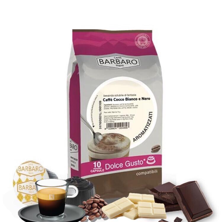 Barbaro Dolce Gusto CIOCCO Bianco e Nero 100% espresso со  вкус на бело и темно чоколадо 10 пар.