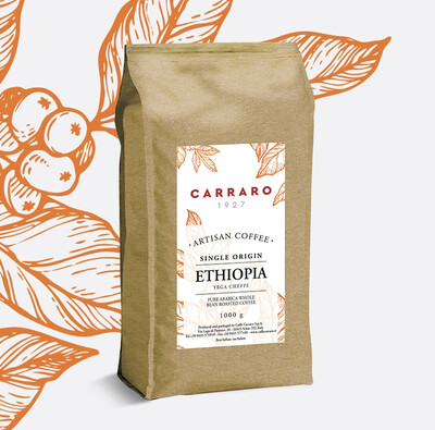 Carraro Ethiopia Yirgacheffe Sidamo  Specialty 1кг Еспресо Зрно