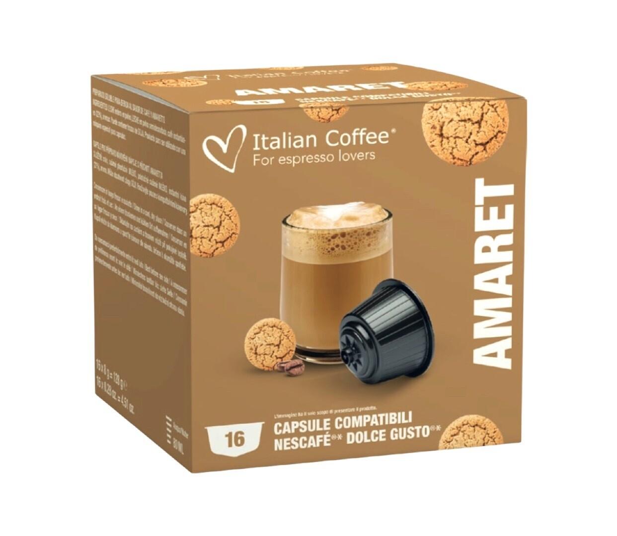 Italian Coffee™️Dolce Gusto Amareto cookie Cappuccino/latte без шеќер x16 капсули