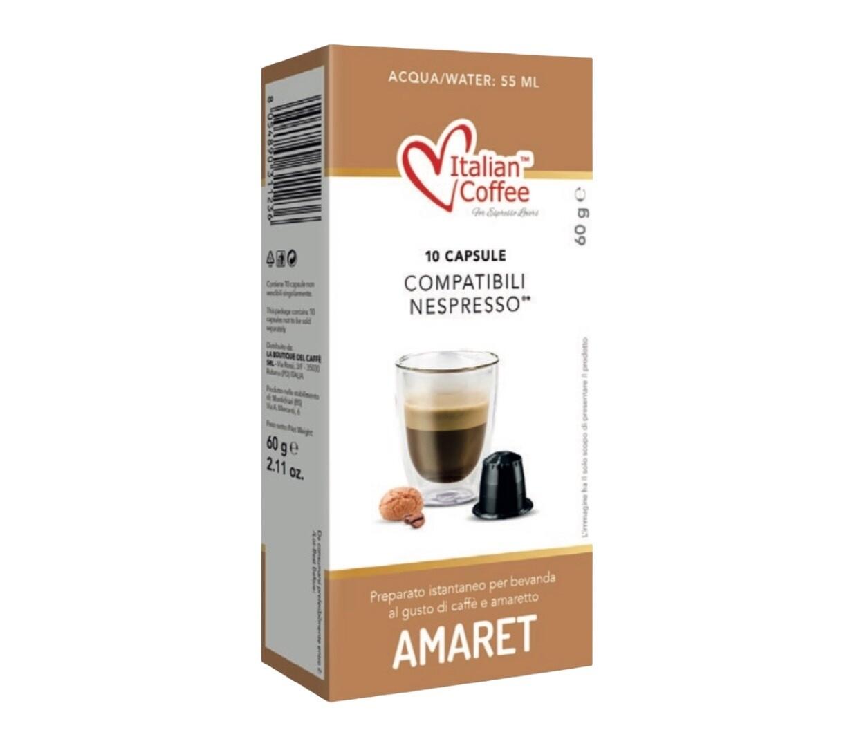 Italian Coffee™️comp. Nespresso* Amaret Амарето (бадем) Макијато х10капсули