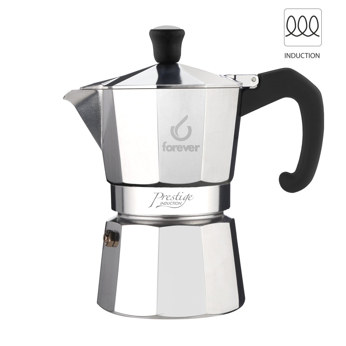 "Forever ™️MISS MOKA PRESTIGE"" ALUMINIUM-*INDUCTION 3 CUPS со Гратис 250 гр еспресо"