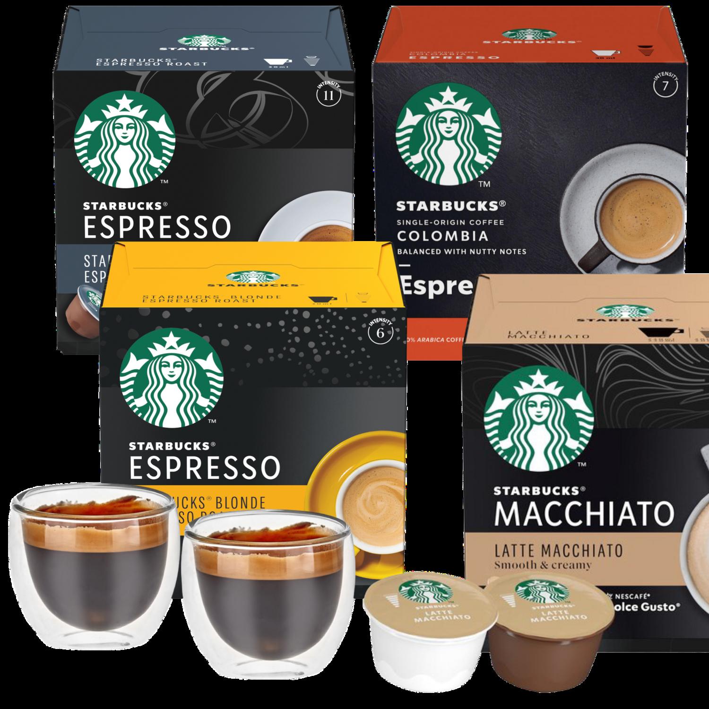 Пакет 5 паковки Starbucks со Гратис 2 double wall чаши