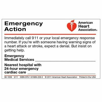 Emergency Action Wallet Card 90-1059 (50/pkg) American Heart Association