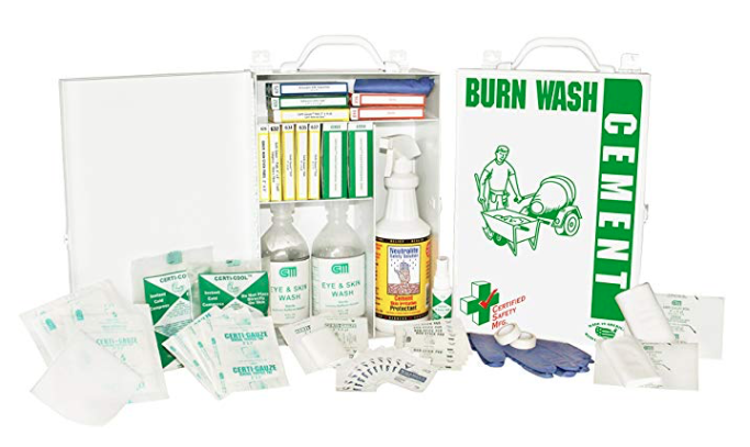 Certified Safety 608-054 Cement Burn First Aid Kit in Metal Cabinet