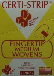 Adhesive Bandages - Fingertip Medium - Woven Heavy Weight - Certi-Strips - Certified 220-229 - 25/box
