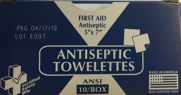 Antiseptic Towelettes Certified Safety # 675