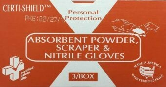 Bodily Fluids Clean up - 2 oz Absorbent Powder for Body Fluids w/ Scraper & Gloves - Certified  216-079  # 903X