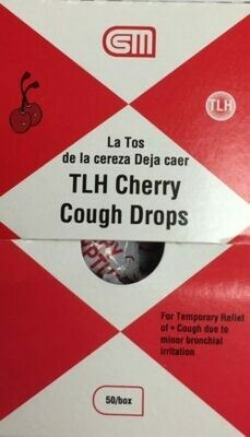 Cough Drops - TLH Cough and Sore Throat - Cherry - Certified 241-012 - 50 drops