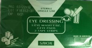 EYE DRESSING # 668CG (EYE WASH - EYE PADS - TAPE) 210-036