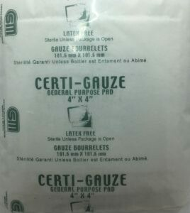 "Gauze Pads - 4"" x 4"" - Certi-Gauze- Certified 231-207 - 100/bag"