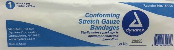 """Gauze Roll - Stretch - 6"""" x 4.1 yards - Sterile - Certified  230-222"""