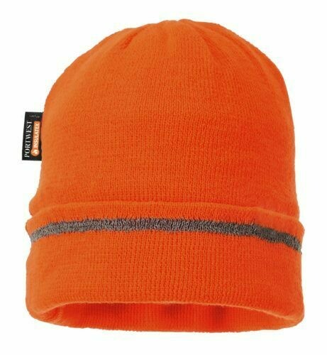 Clothing - Hats - Reflective Trim Knit Hat Insulatex lined (PORTWEST)