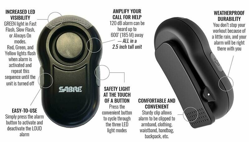 Personal Alarm with Clip & LED Light Black