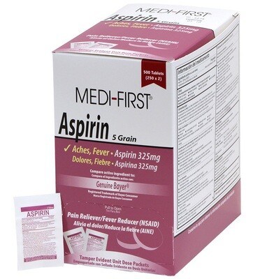 Aspirin 5 grain 325 mg Box of 125 packets 2 in each packet