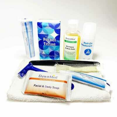 Adult Comfort Kit - Tissue-toothpaste-shampoo-washcloth-soap-Toothbruah, razor, shave gel
