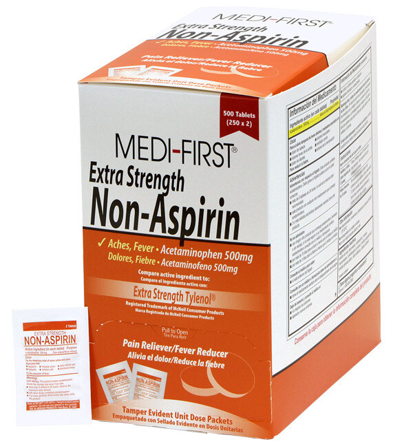 Extra Strength Non-Aspirin Pain Reliever Comparable to Extra Strength Tylenol - 100 per Box (50 - 2pks) 80433