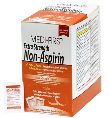 Extra Strength Non-Aspirin Pain Reliever Comparable to Extra Strength Tylenol - 100 per Box (50 - 2pks) 80433