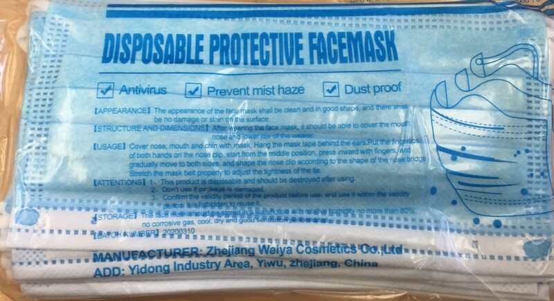 Face Mask - Disposable Nonwoven Protective 3 Ply Face Mask 10 Pack