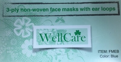 WELLCARE FACE MASKS 50/BOX BLUE