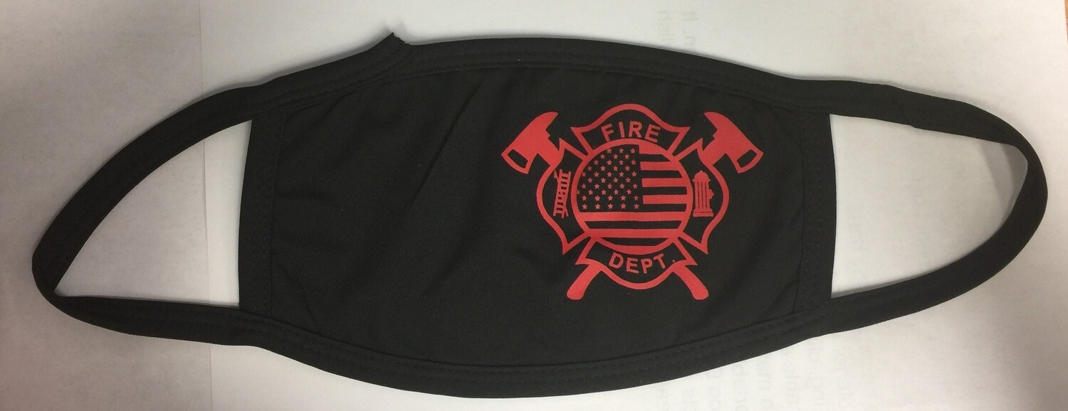 Fashion Protective Unisex Black Dust Cotton Anti Air Dust Cover, Unisex Mask FIRE DEPARTMENT or STAR OF LIFE LOGO (Sold Individually)