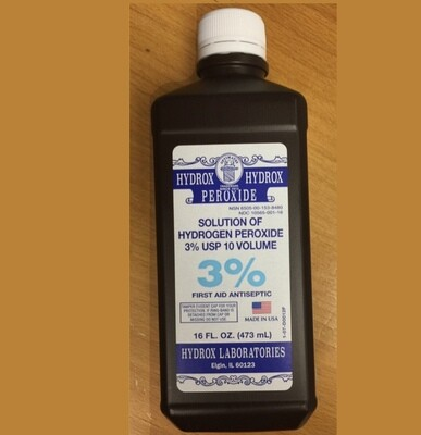 Hydrogen Peroxide 3% - 16 ounce Bottle  Case of 12