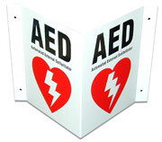 AED 3 Way Wall Sign