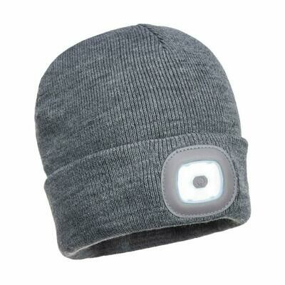 Beanie LED Head Light USB Rechargeable (PORTWEST). 2 LED lights White in Front and Red in back. Color GRAY