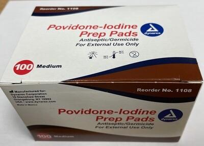 dynarex Povidone-Iodine Prep Pads 100 Medium