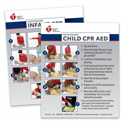 2020 Heartsaver Child & Infant CPR AED Wallet Card (100 Pack) 20-1144