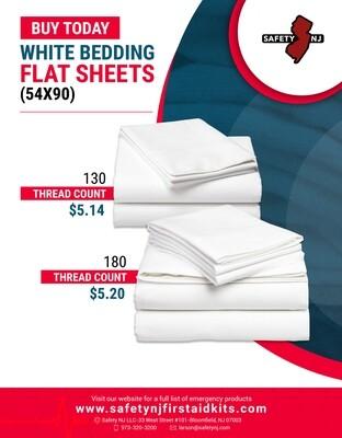 White Bedding Flat Sheets (54x90)