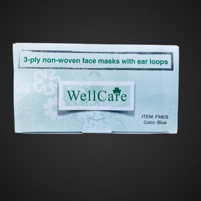 WELLCARE FACE MASKS 50/BOX BLUE