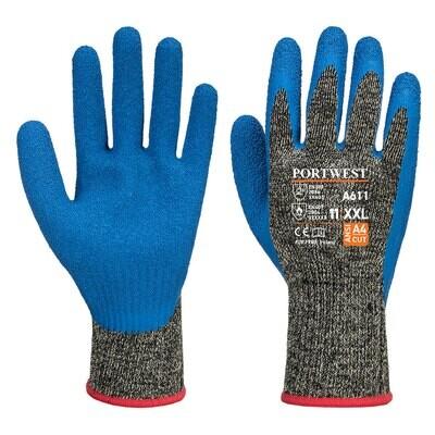 A611 - Aramid HR Cut Latex Glove  Black/Blue