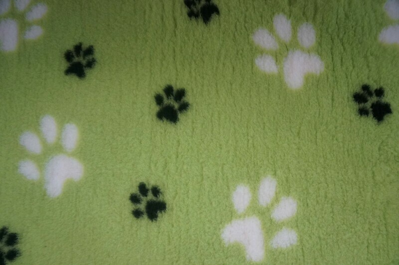 {Single Sheets} : Ultra Premium - Non-Slip Backing : Big Paw : Lime Green with Large White and Smaller Black Paws  - Ref : (6496)