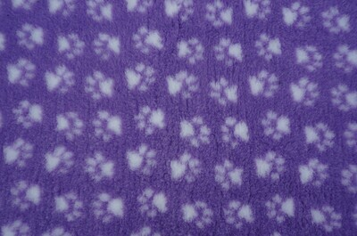 Minimum {15 x Metre Roll} : Ultra Premium - Non Slip Backing :  Lilac with White Paws Ref : (6278)