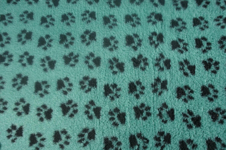 Minimum {15 x Metre Roll} : Ultra Premium - Non Slip Backing :  Sage Green with Black Paws  - Ref : (6352)