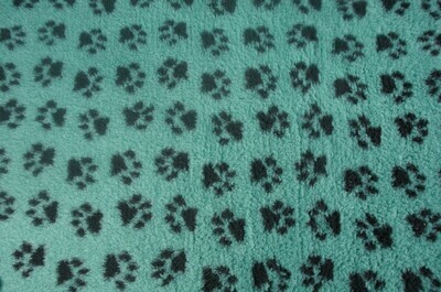 Minimum {15 x Metre Roll} : Ultra Premium - Non Slip Backing :  Sage Green with Black Paws  - Ref : (6352)