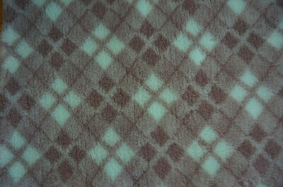 Minimum {15 x Metre Roll} : Ultra Premium - Non Slip Backing :  Mint Green, Mink and Brown Diamond Tartan - Ref : (6366)