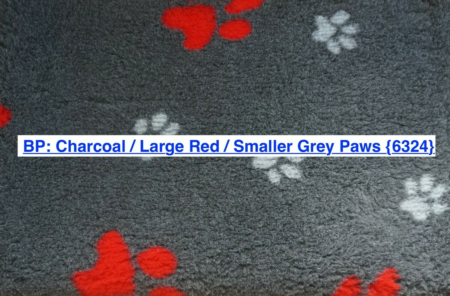 Minimum {15 x Metre Roll} : Ultra Premium - Non Slip Backing :  Big Paw : Charcoal with Large Red and Smaller Grey Paws - Ref : (6324)