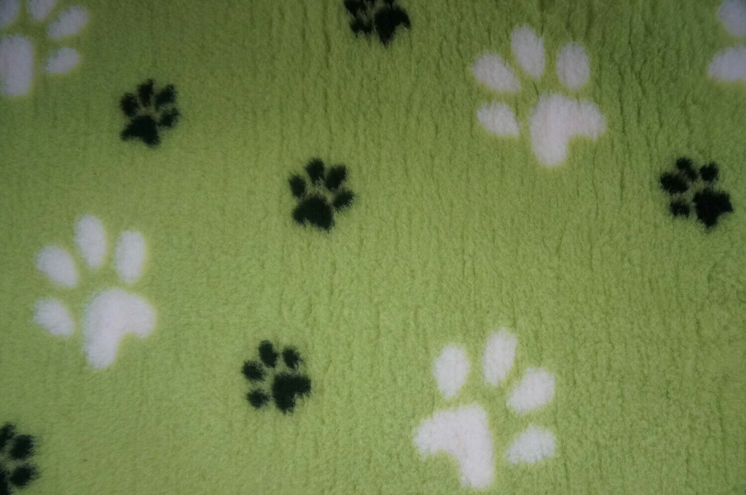 Minimum {15 x Metre Roll} : Ultra Premium - Non Slip Backing :  Big Paw : Lime Green with Large White and Smaller Black Paws - Ref : (6496)