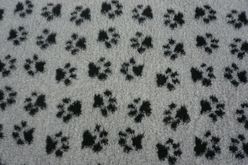 Minimum {15 x Metre Roll} : Ultra Premium - Non Slip Backing :  Grey with Black Paws - Ref : (6332)