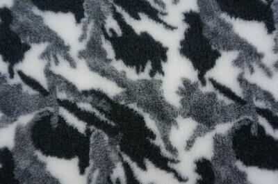 Minimum {15 x Metre Roll} : Ultra Premium - Non Slip Backing :  Camouflge - Black / White and Grey - Ref : (6280)